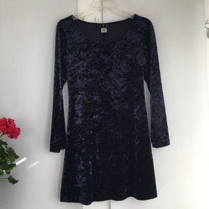 JSC long sleeve navy velvet mini dress. Small.